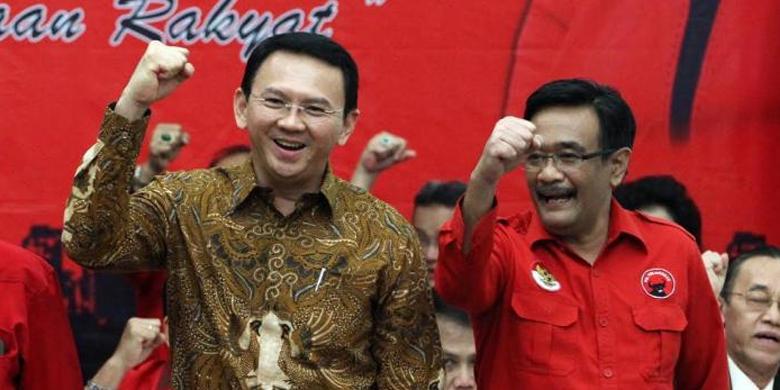 TRIBUNNEWS.COM / IRWAN RISMAWAN Basuki Tjahaja Purnama alias Ahok dan Djarot Saiful Hidayat terlihat mengepalkan tangan usai ditetapkan DPP PDI-P menjadi pasangan Cagub-Cawagub PDIP untuk Pilgub DKI Jakarta 2017.