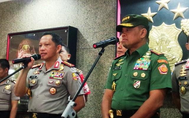 Kapolri Jendral Polisi Tito Karnavian dan Panglima TNI Jendral Jenderal TNI Gatot Nurmantyo